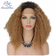 BeautyTown Kinky Curly Heat Resistant Hair Black T brown Short Cosplay Perruque Synthetic Lace Front Party Wigs For Black Women