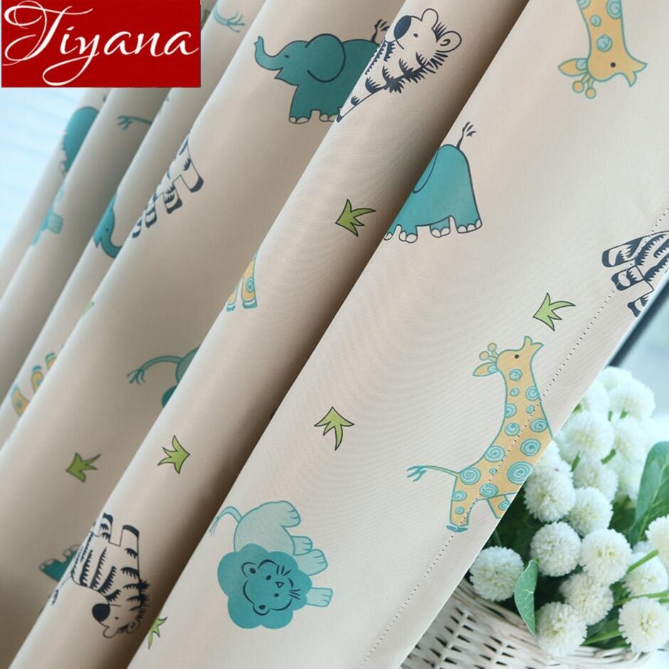 Cartoon Curtain For Kids Blackout Drape Sheer Tulle Curtain For Window Bedroom Animal Baby Room Custom Treatmnet T&137#30