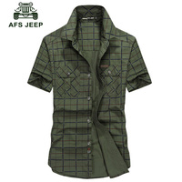 Hot sale free shipping Summer new AFS jeep field jeep genuine men short sleeve youth male plaid shirt tide shirt Z77.5