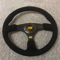 OMP Suede Racing Steering Wheel Universal 350mm Flat Shape Tuning Modified Car Steering Wheel