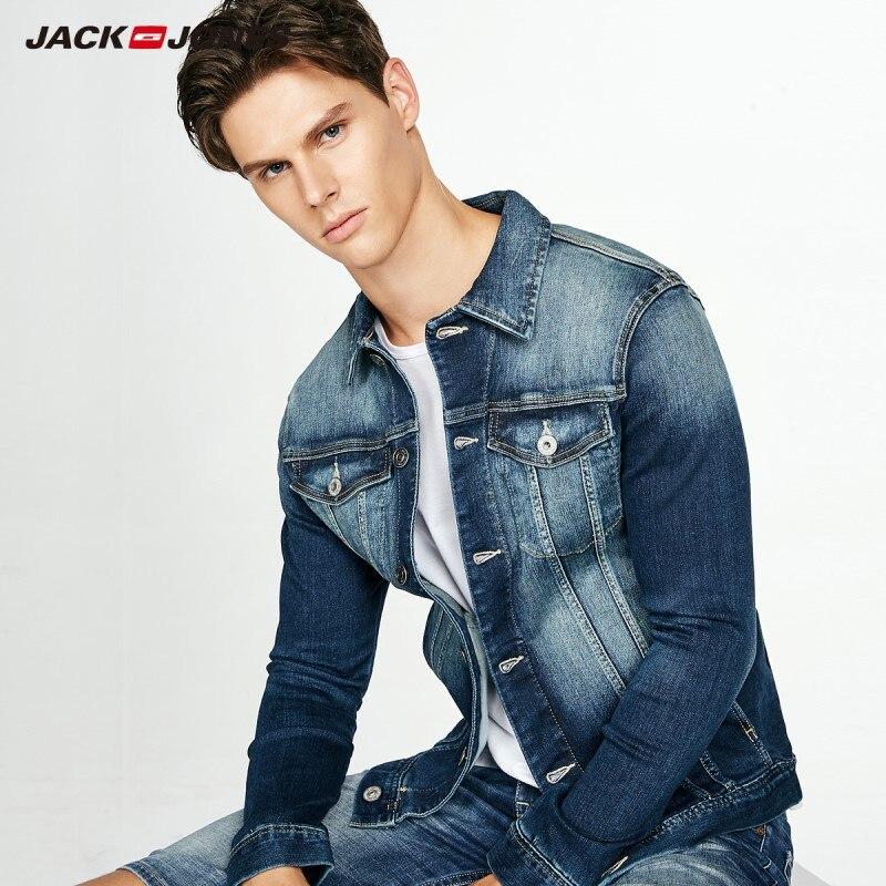 JackJones Men's Elastic Imported Cotton Fabric Turn-down Collar Short Denim Jacket Hip Hop Faded CoatJ|217357505