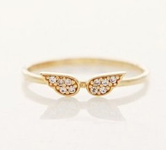 17mm size  Fashion jewellery, Small shiny angel wings ring J1414
