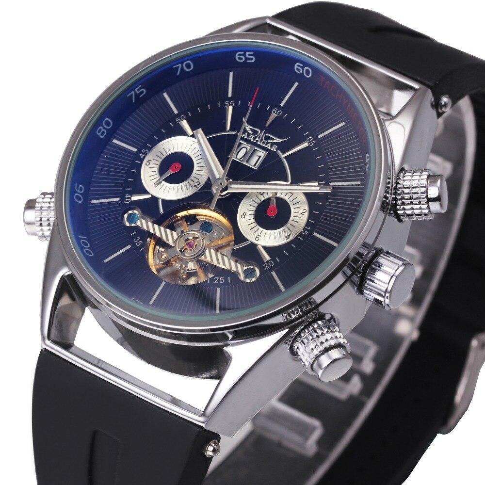 2018 WINNER Fashion Men Automatic Mechanical Watch Silicone Watchband Tourbillon Male Wristwatch Blue-ray Sub-dial Calendar Day цена и фото