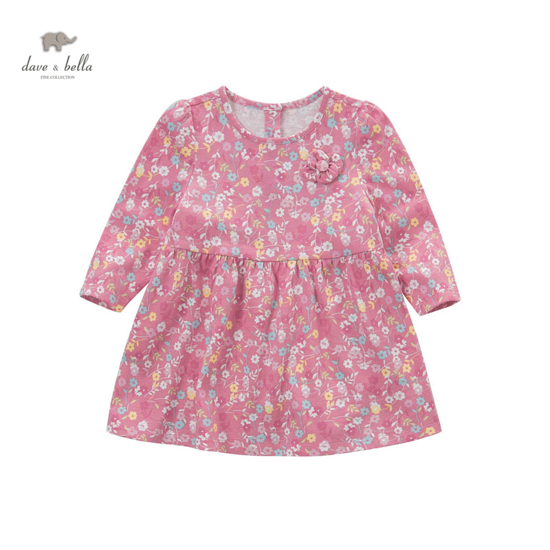 все цены на DB4447 dave bella baby girl pink floral dress cotton high quality boutique clothes lolita dress онлайн