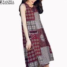 Plus Size ZANZEA Womens Boho Floral Print O-Neck Sleeveless Vestido Casual Split Vest Dress Summer Beach Party Sundress 2017