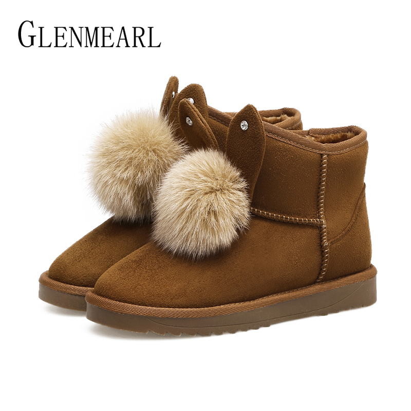 Genuine Leather Women Snow Boots Winter Shoes Platform Ankle Boots Woman Suede Warm Plush Rabbit Fur Casual Shoes Female New DE цены онлайн
