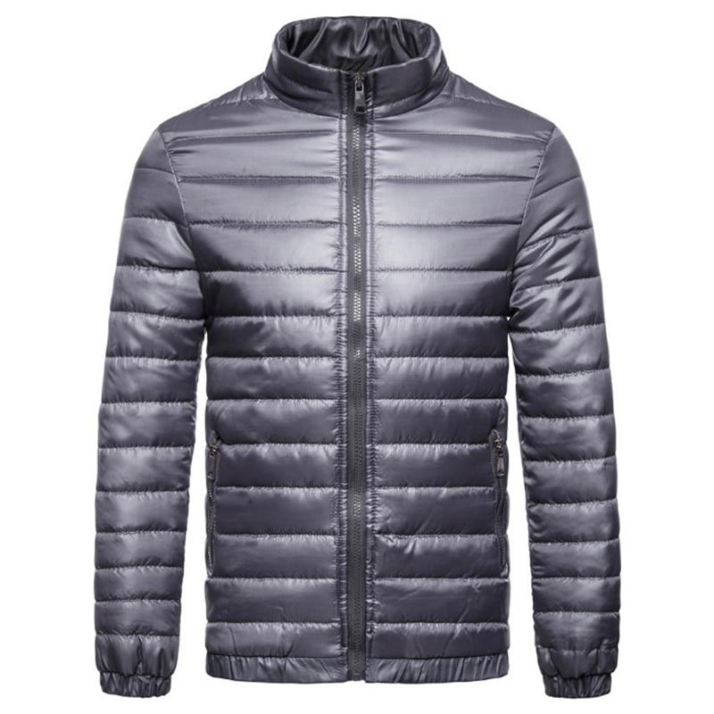 Europe/US Size Ultralight Autumn Winter Jacket Men Waterproof Windproof Parkas New Striped Solid Color Cotton Jacket Men