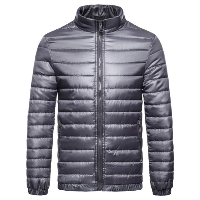 Europe/US Size Ultralight Autumn Winter Jacket Men Waterproof Windproof   Parkas   New Striped Solid Color Cotton Jacket Men
