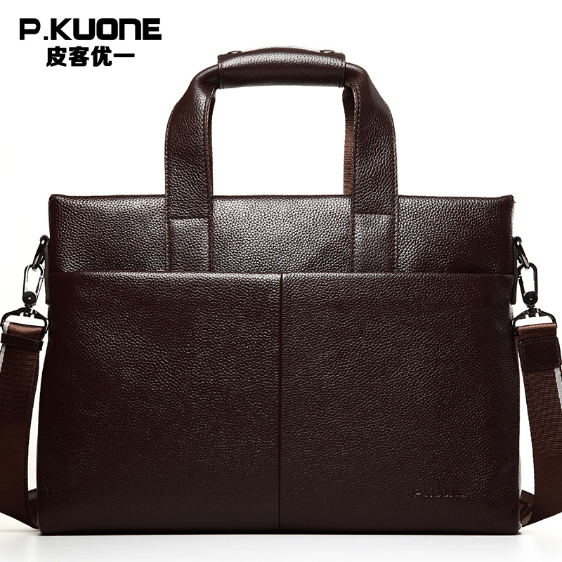 P.KUONE Brand Cow Leather Handbag Men Genuine Leather Briefcase Men's Shoulder Messenger Bags Crossbody Laptop Bag Brown Black xiyuan genuine leather handbag men messenger bags male briefcase handbags man laptop bags portfolio shoulder crossbody bag brown