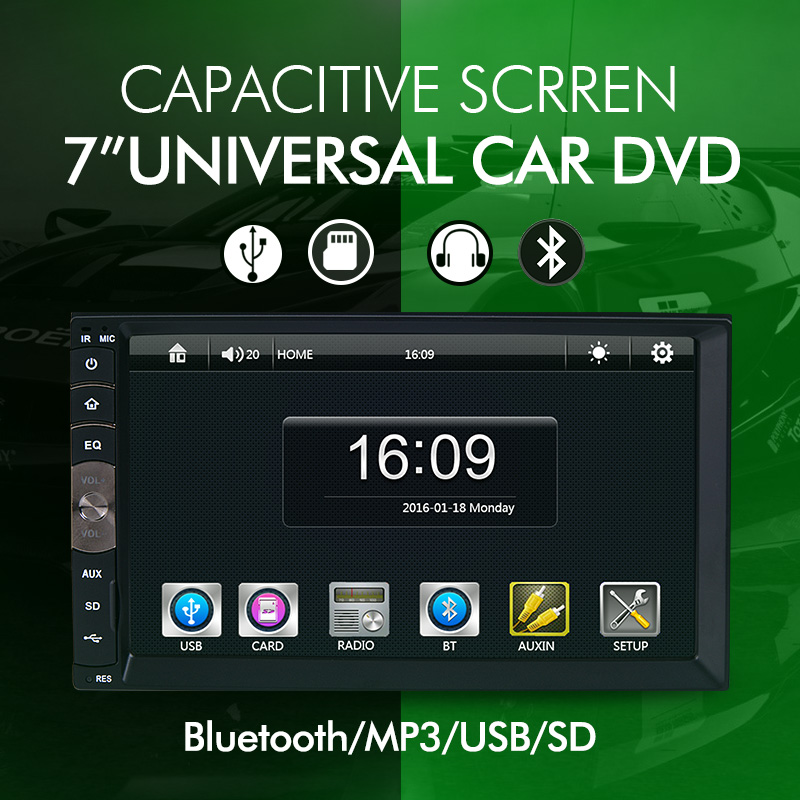 "7"" Universal 2 Din HD Car Radio MP5 Player Bluetooth Radio Entertainment Multimedia with Rear View Camera"
