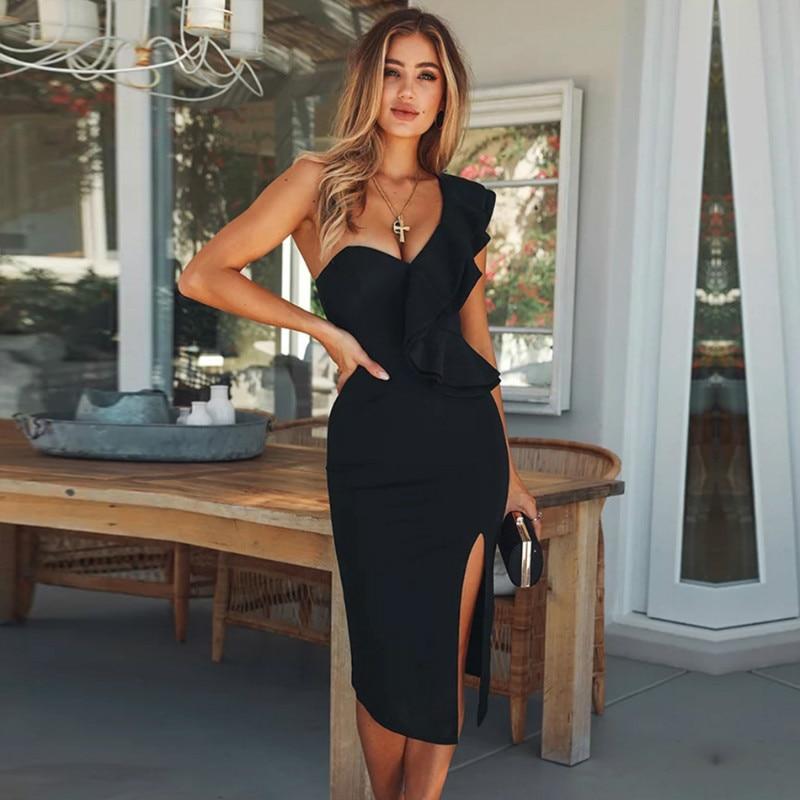2019 New Summer Women Bandage Dress Celebrity Evening Party Dresses Sexy One Shoulder Ruffles Bodycon Club Dress Casual Vestidos