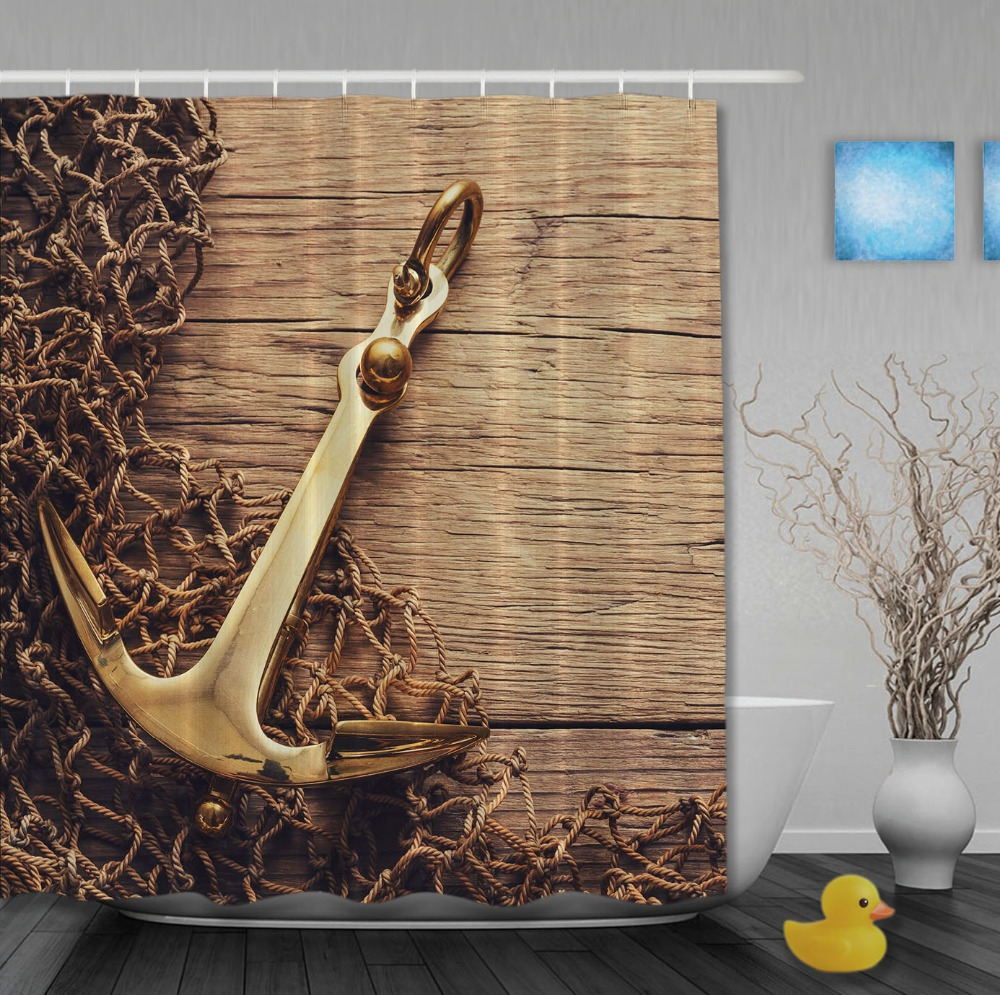 Nautical Metallic Anchor On Rustic Wood Shower Curtains Waterproof Fabric High Quality Custom Bathroom Curtain With Hooks