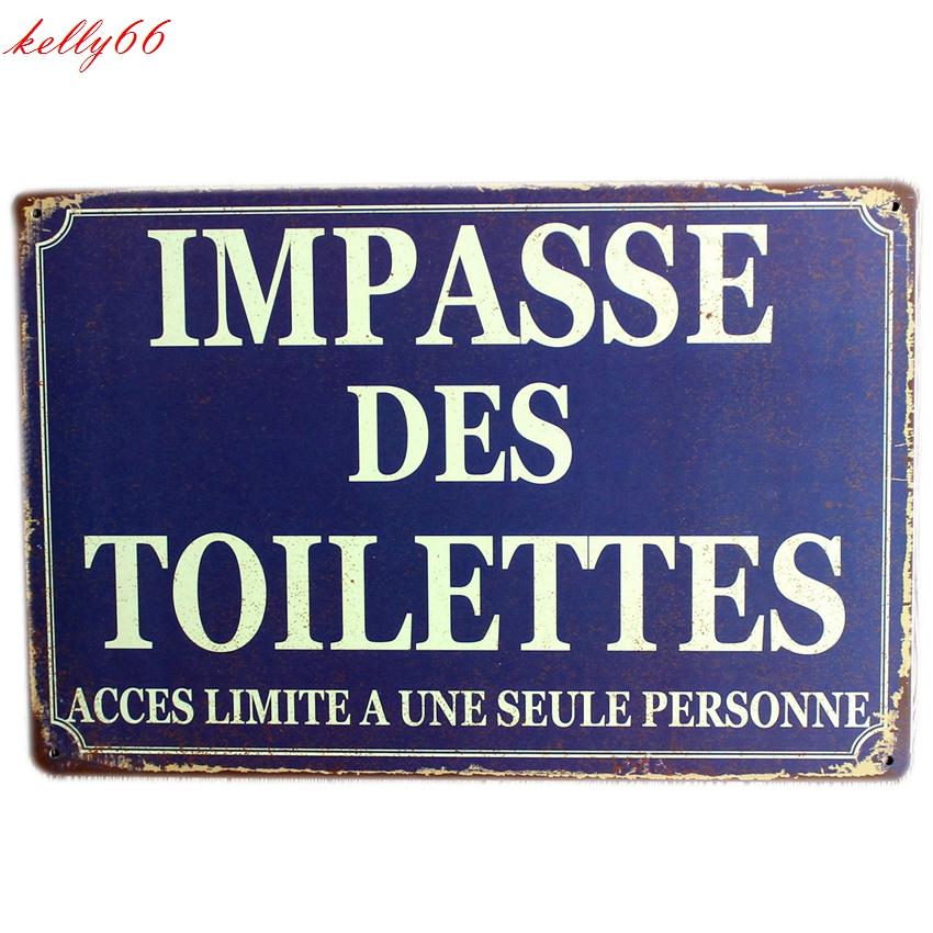 [ Kelly66 ] IMPASSE DES TOILETTES Metal Plaque Bar House Wall Signs Painting Craft 20*30 ...