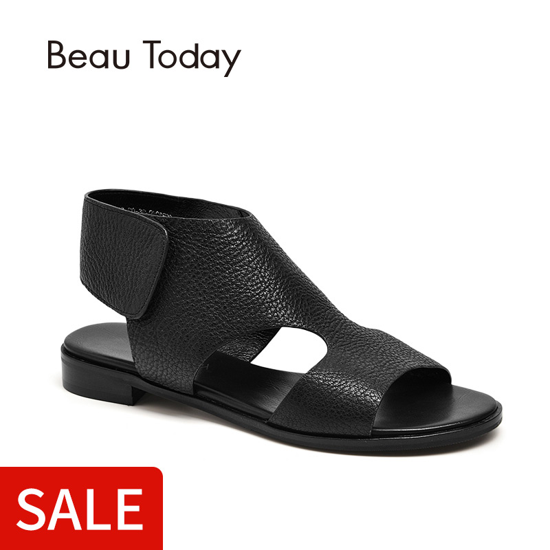 BeauToday Women Flat Sandals Genuine Leather Sheepskin Hook & Loop Rome Style High Quality