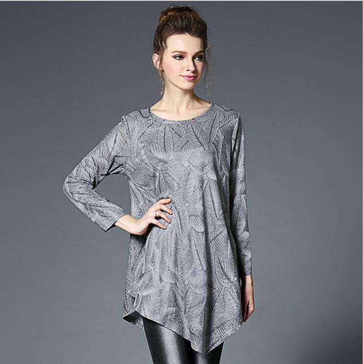 2017 Spring Women Clothing Plus Size Loose Shirt Blouse Femme Gray Chiffon Girl Tops Long Sleeve Casual Work Shirt Women America
