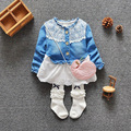 Hot selling baby clothes girl clothes denim long-sleeved spring dress clothes denim jeans stitching gauze dress free postage 848