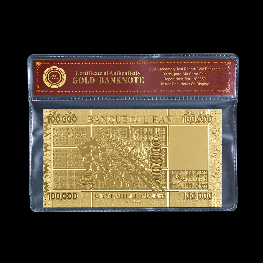 Latest Arrival Lebanon Paper Currency Lebanese Pound 100000 Pure Gold Foil Banknote Nice Birthday Gifts