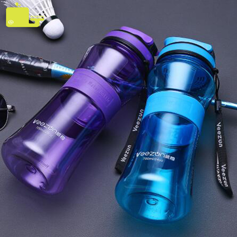 Oneisall plastmasas ūdens pudeles bezmaksas BPA sporta tējkanna 700ml. Protable Outdoor Gym Gourde en Plastique tiešā dzeramā pārgājienu pudele