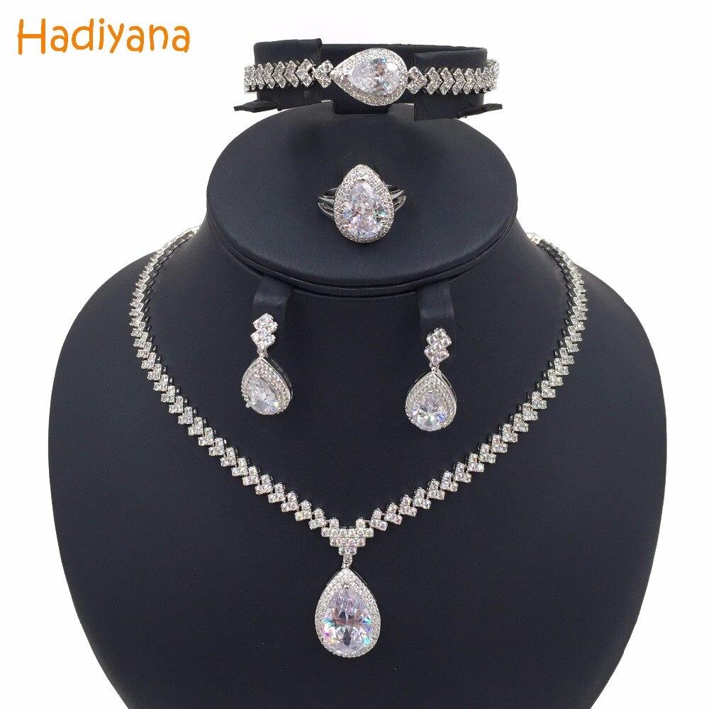 Élégant cubique Zircon 4 pièces ensembles de mariée collier bijoux pour femmes Hotsale mode mariage argent or bijoux ensemble CN013 Hadiyana