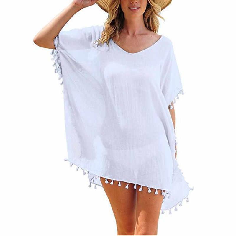 Sifon Rumbai Tunik Pantai Wanita Pakaian Renang Menutupi Lady Swimwear Beach Cover Up Beachwear Daoble Pantai Gaun Saida De praia