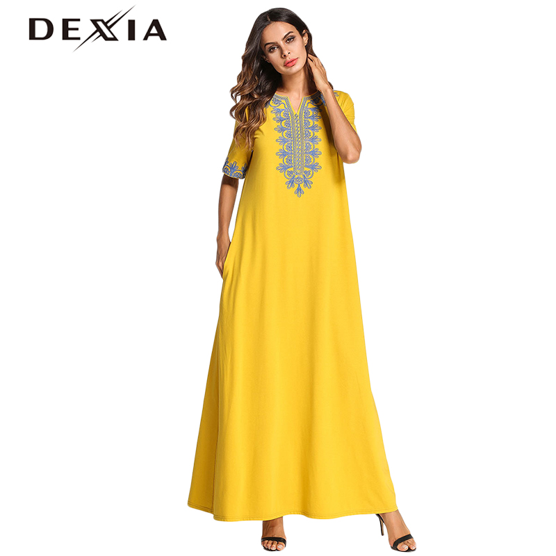 Detail Feedback Questions about Dexia Long Maxi Dress Female Summer  Cascading Embroidery Loose Casual Robe Vestidos De Fiesta Cortos Yellow Maxi  Befree ... 27d3ef03198e