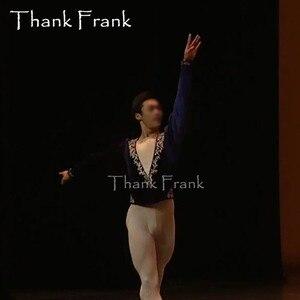 Image 2 - Custom Made męski książę balet Top chłopcy z długim rękawem kostium taneczny mężczyźni V Neck elegancka odzież sceniczna profesjonalne męskie kostiumy