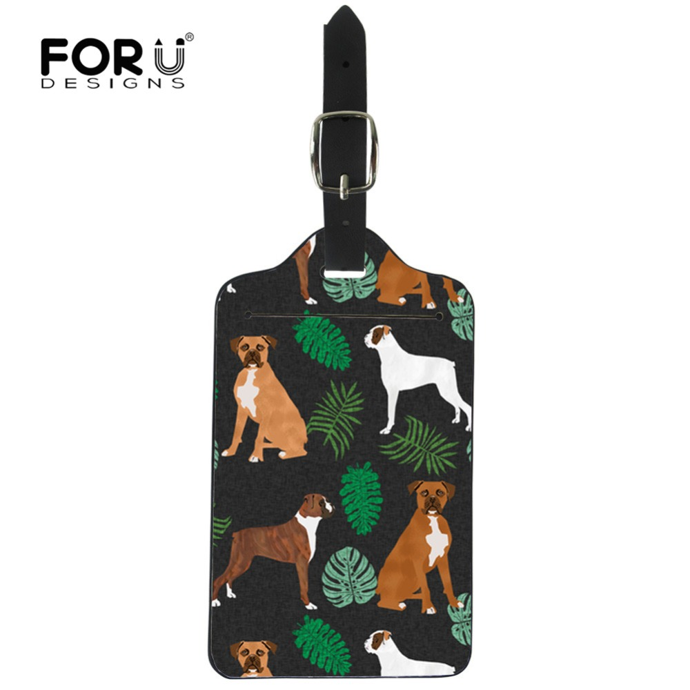 FORUDESIGNS Travel Accessories Luggage Tag Cute Boxer Dog Cactus Printing Suitcase ID Addres Holder Baggage Boarding Tag Label