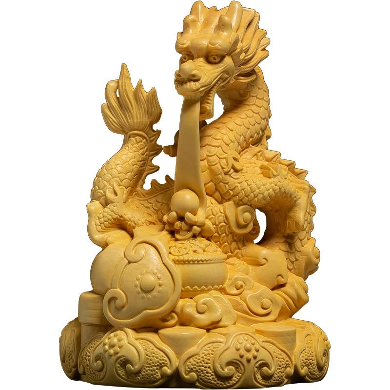 Dragon tournant bois massif chanceux Feng Shui Dragon chinois sculpture sur bois artisanat buis zodiaque Dragon chambre de ville bureau décoration