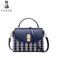 FOXER 2020 New women Leather bag luxury handbags women famous brand Simple splice tote fashion women leather shoulder Bag