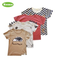 ФОТО 2017 summer khaki cotton boys t-shirt,with comfortable sturdy hedgehog pattern