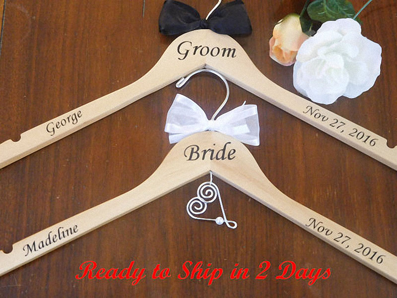 Personalized bride bridesmaid groom wedding hanger with for Wedding dress hanger amazon