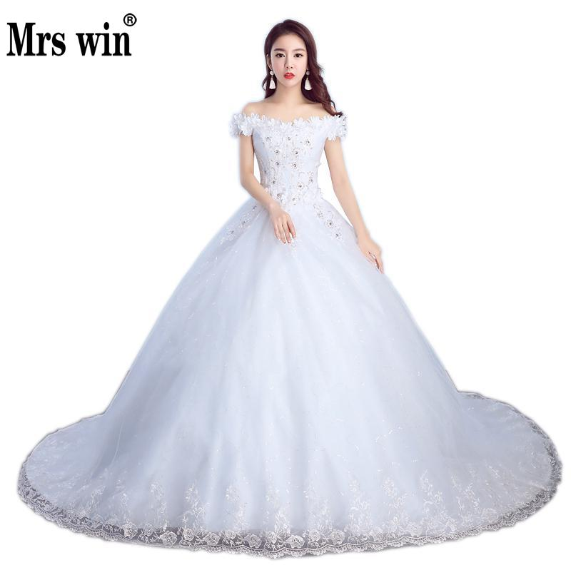 2017 New Applicue Wedding Dress With Train Boat Neck Flower Vintage Wedding Gown Sweep Train Bridal Dress Vestidos De Novia