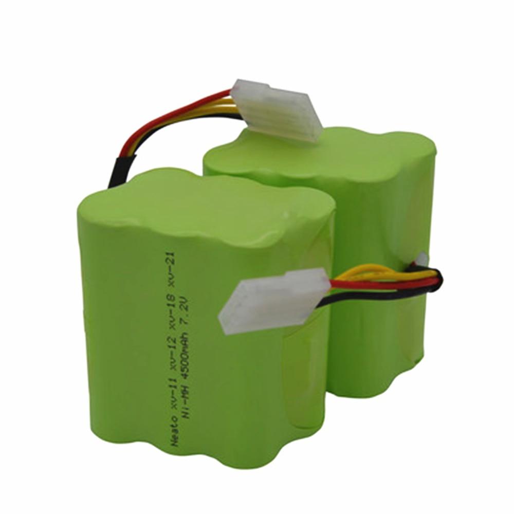 2pcs 7.2v 4500mAh battery pack for Neato XV-21 XV-11 XV-14 XV-15 robot vacuum cleaner parts neato xv battery signature pro 2 pcs 7 2v 4500mah battery pack sidebrush for neato xv 21 xv 11 xv 14 xv 15 robot vacuum cleaner parts neato xv battery