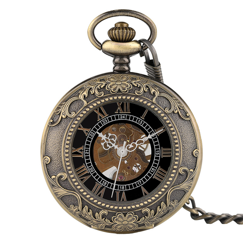 Steampunk Pendant For Men Women  Hand Winding Mechanical Pocket Watch Luxury Fashion Roman Numerals Skeleton Watches FOB Chain