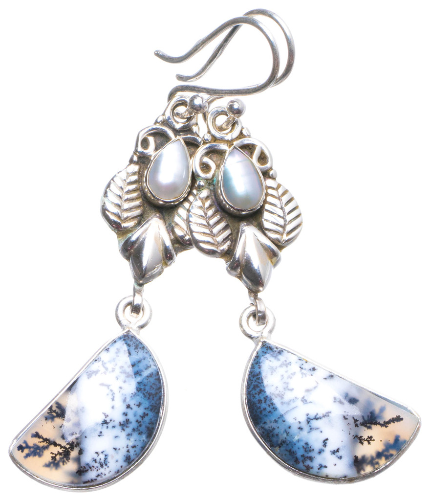 Natural Dendritic Opal and River Pearl Handmade Unique 925 Sterling Silver Earrings 2.25 X4164