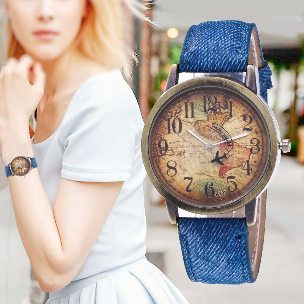New Fashion Quartz Watch Men Unisex Map Airplane Travel Around The World Women Leather Dress Wrist Watches Relogio Feminino Fi