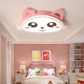 Modren led 샹들리에 어린이 방 침실 램프 간단한 현대 소년 소녀 만화 귀여운 고양이 크리 에이 티브 룸 천장 샹들리에