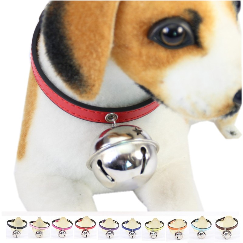 (1 piece / lot ) Big Bell Dog Cat Collar Ringing Pet Collars for dogs Cats Pu Leather XS S