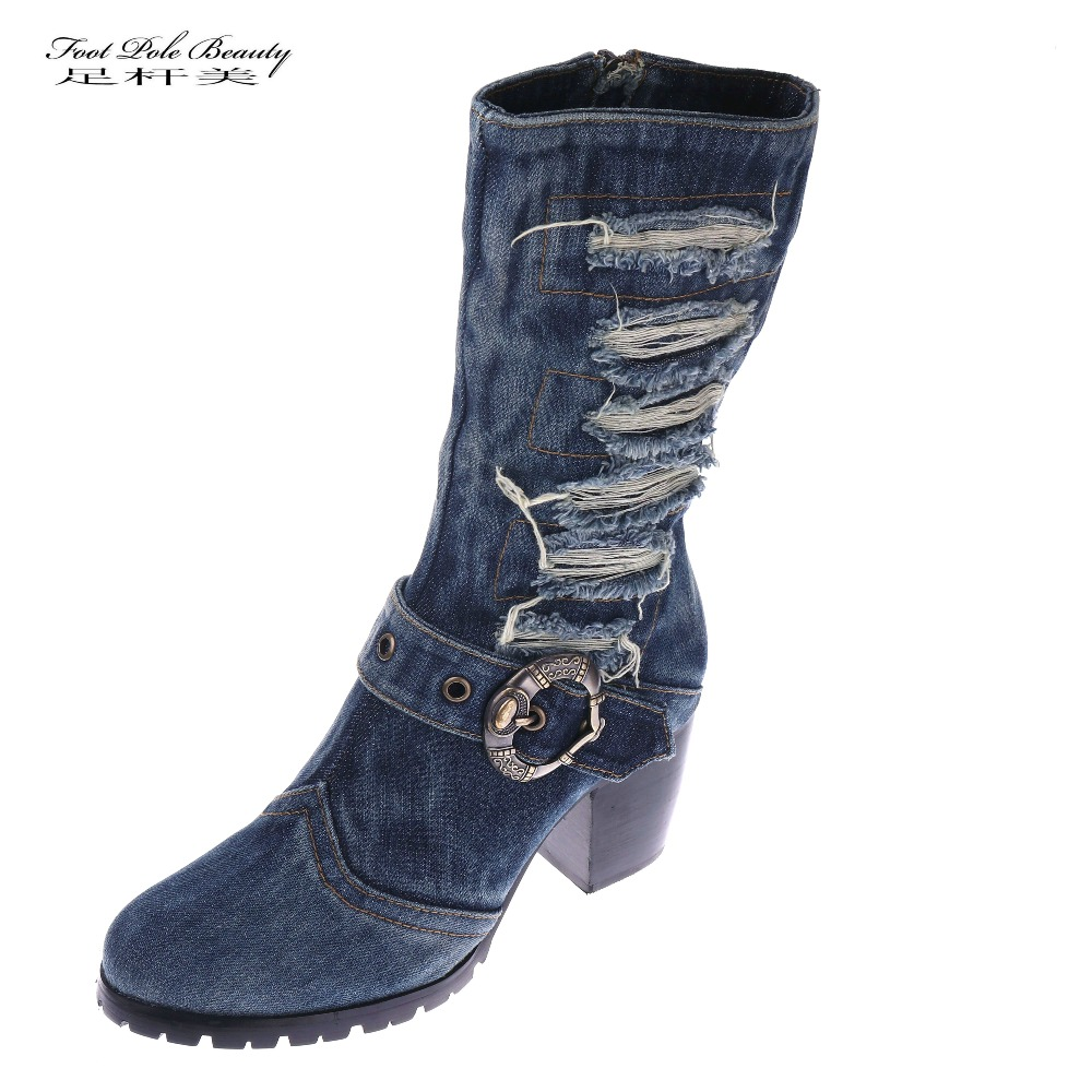 FOOT POLE BEAUTY Brand New Arrival Mid calf Blue Jeans Boots Cool Appliques Denim Boots For