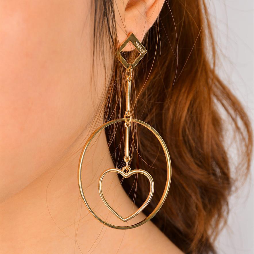 2018 New Fashion Grils Heart Ear Clip Jewelry Tassel Ear drop Earrings Jewelry Delicate Gift dropship Jan 30
