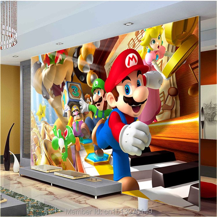 Custom Large Photo Wallpaper Super Mario Wall Mural Classic Games Wallpaper Room Decor Wall Art Bedroom Hallway Background Wall