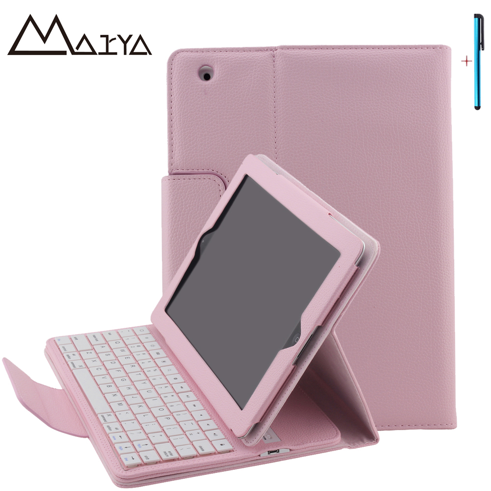 Keyboard For iPad 2 3 4 Ultra thin Flip Stand Tablet Case Removable Wireless Bluetooth PU Leather For iPad 2 3 4 Magnetic Cover universal 61 key bluetooth keyboard w pu leather case for 7 8 tablet pc black