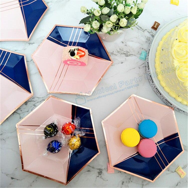 80pcs Navy Rose Gold Hexagon Small Party Plates Wedding Bridal