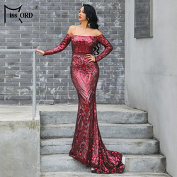 Missord 2020 Women bra long sleeve Strapless Backless Dresses sequin Elegant evening Reflective party DressFT19202