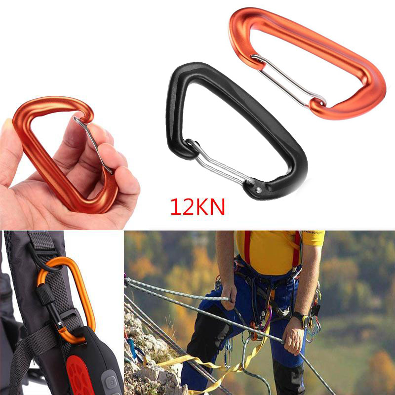 12KN Professional Carabiner D Shape Climbing Security Safety Master Lock Outdoor Rock Climbing Buckle Equipment