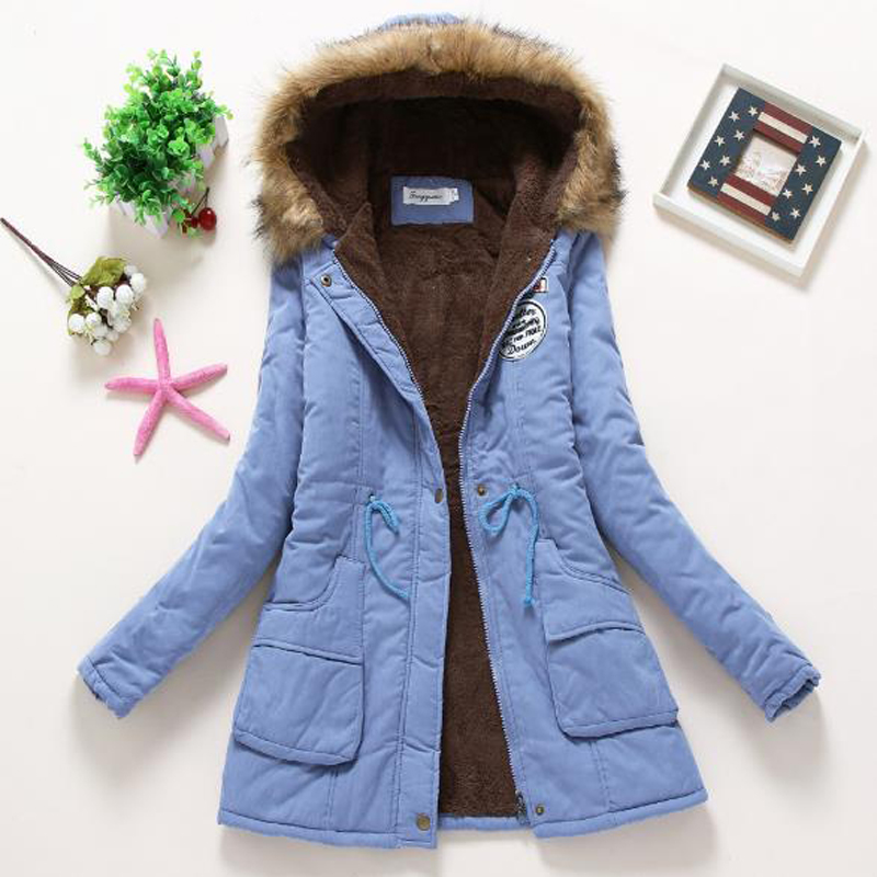 2017winter jacket women Korean version ladies large yards thick sheep lambs fixed cotton dress long sleeve hooded female jacket in Parkas from Women 39 s Clothing