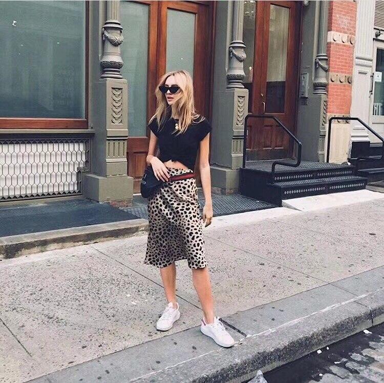 100% шелк атлас юбка Naomi Дикие Вещи 3/4 длина скольжения стиль юбка леопардовая Печать юбка Naomi скольжения - 5
