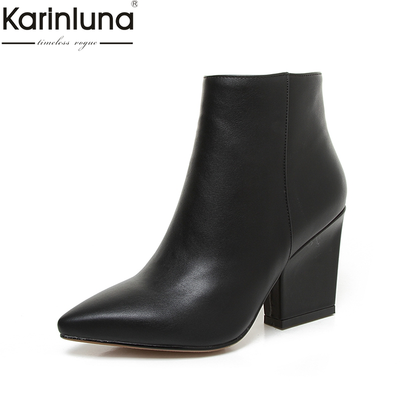 цена на KARINLUNA 2018 Plus Size 32-43 Black Pointed Toe Women Shoes Women Fashion High Heels Add Plush Autumn Winter Ankle Boots Women
