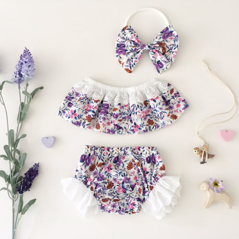 0-24M Newborn Infant Baby Girls Clothes Sleeveless Floral Bodysuit Romper + Tutu Pant + Headband 3pcs Outfit Kids Clothing Set 2017 summer newborn infant baby girls clothing set crown pattern romper bodysuit printed pants outfit 2pcs