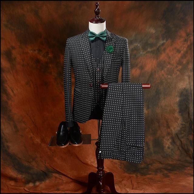 Outono ternos dos homens Novos Inglaterra três-pedaço do vestido de casamento banquete negócio ternos Ponto estágio cantor trajes plus size roupas